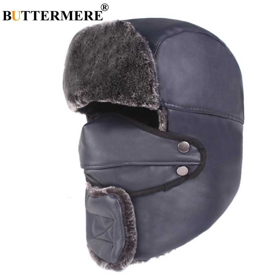 e58aa146 ... BUTTERMERE Bomber Hats Ushanka Winter Hats For Men Brown PU Leather  Russian Hat Unisex Motorcycle Windproof ...