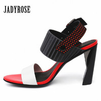 Jady Rose Fashion Color Block Women S Sandals Strange High Heels Summer Gladiator Valentine Shoes Woman