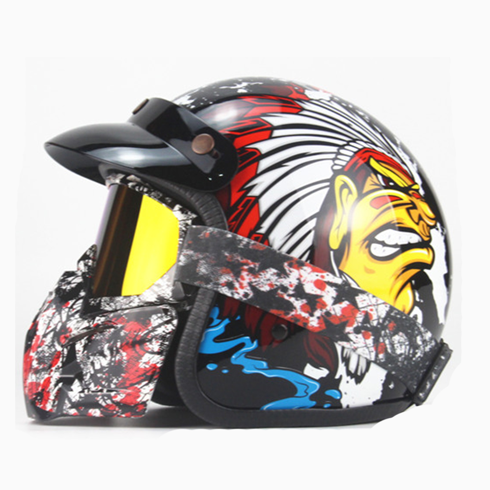 Motorcycle Helmet Retro Vintage Motocross Helmet Moto Riding ABS Material Motorbike Helmet Motorcycle Racing Off Road Moto