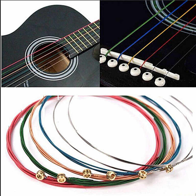 1 Set 6Pcs Rainbow Colorful Guitar Strings E-A For Acoustic Folk Guitar Classic Guitar Multi Color