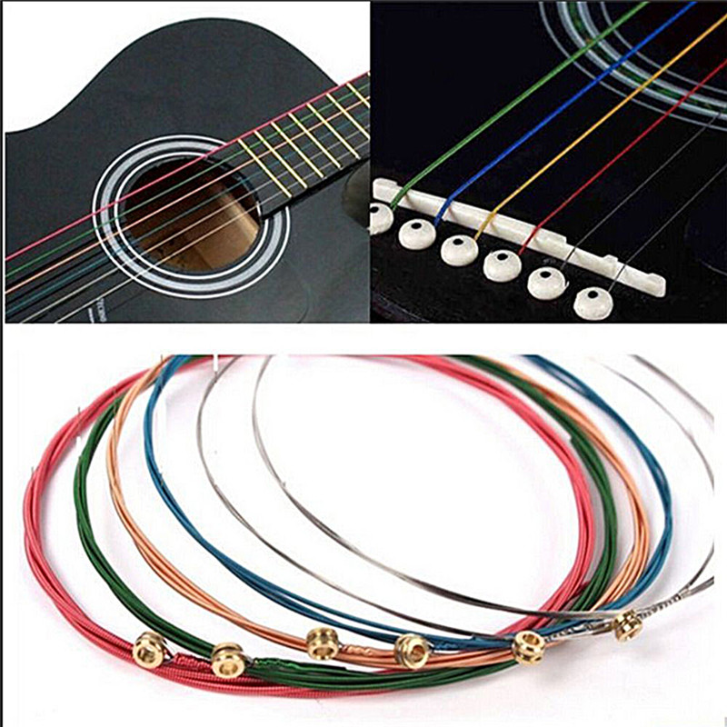1 Set 4/5/6Pcs Rainbow Colorful Guitar Strings E-A For Acoustic Folk Guitar Classic Guitar Multi Color