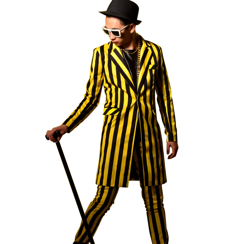 Casual Suit Blazers Yellow Coat Jacket Slim-Fit Singer Stage Nightclub Male Stripes Fashion