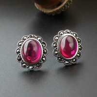 925 Sterling silver women jewelry Natural semi precious stones Earrings red Lady girlfriend gift red corundum girlfriend gift