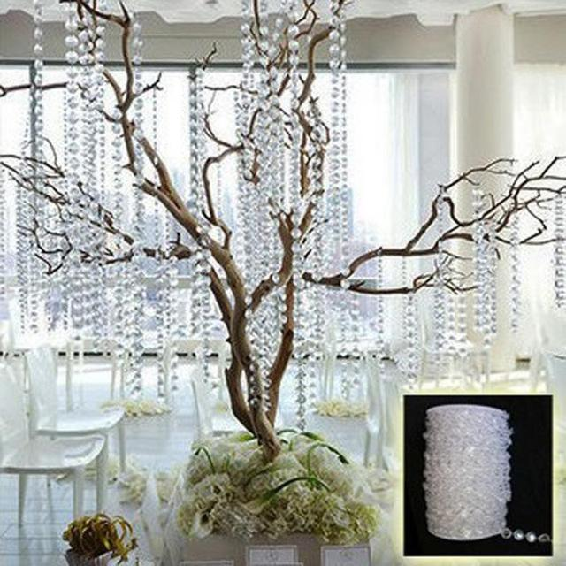 10 m 33FT Vòng Hoa Kim Cương Acrylic Đính Hạt Pha Lê Màn Cưới DIY Trang Trí Tiệc Nhà Phòng Khách Phòng Ngủ Trang Trí