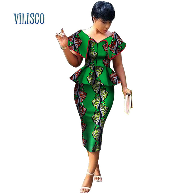 New Arrival Top and Straight Skirt Sets African Wax Print 2 Pieces Skirt Set for Women Bazin Riche African Style Clothing WY3200