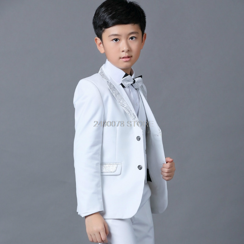 Flower Boys White Wedding Blazer Suit School Kids Piano Prom Ceremony Formal Suit Boys Birthday Party Tuxedo Costume Suit-in Blazers from Mother & Kids    3