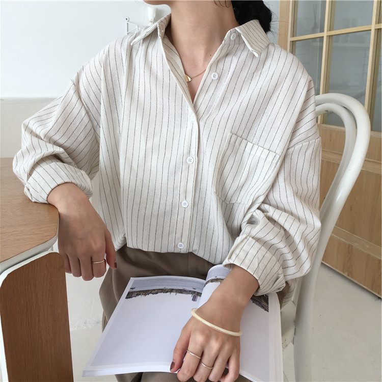 19 Mazefeng Spring Autumn Female Shirts Women Striped Shirts Office Lady Style Women Shirts Solid Fashion Long Sleeves 2