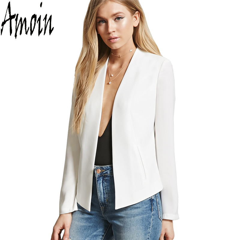 amoin 2017 women white jacket long sleeve feminina suit blazer women 39 s casual blazer mujer plus