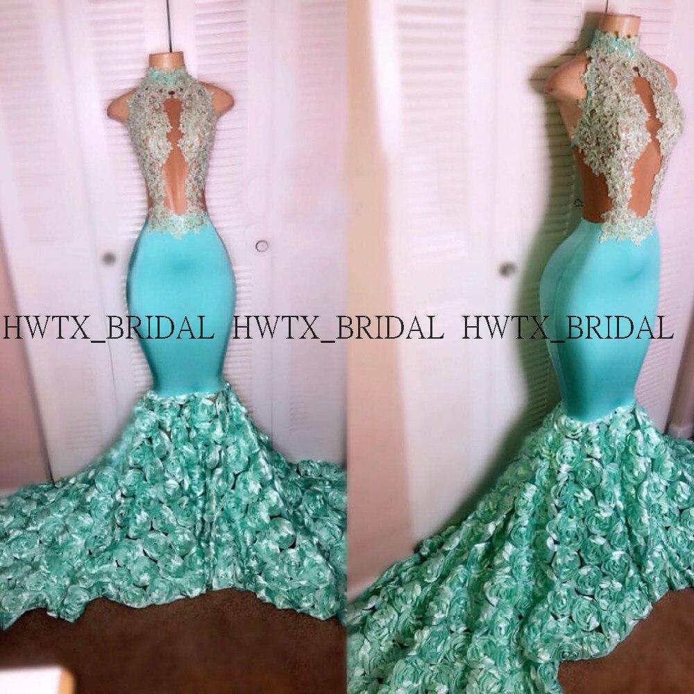 Turquoise 3D-Floral Appliques robes de bal 2019 Halter voir à travers Illusion sirène longue robe de bal africaine robe de soirée formelle