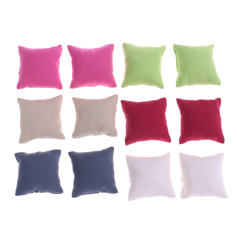 2Pcs/lot 1/12 Dollhouse Miniature Pillow Cushions For Sofa Couch Bed Furniture Toys Without Sofa Chair