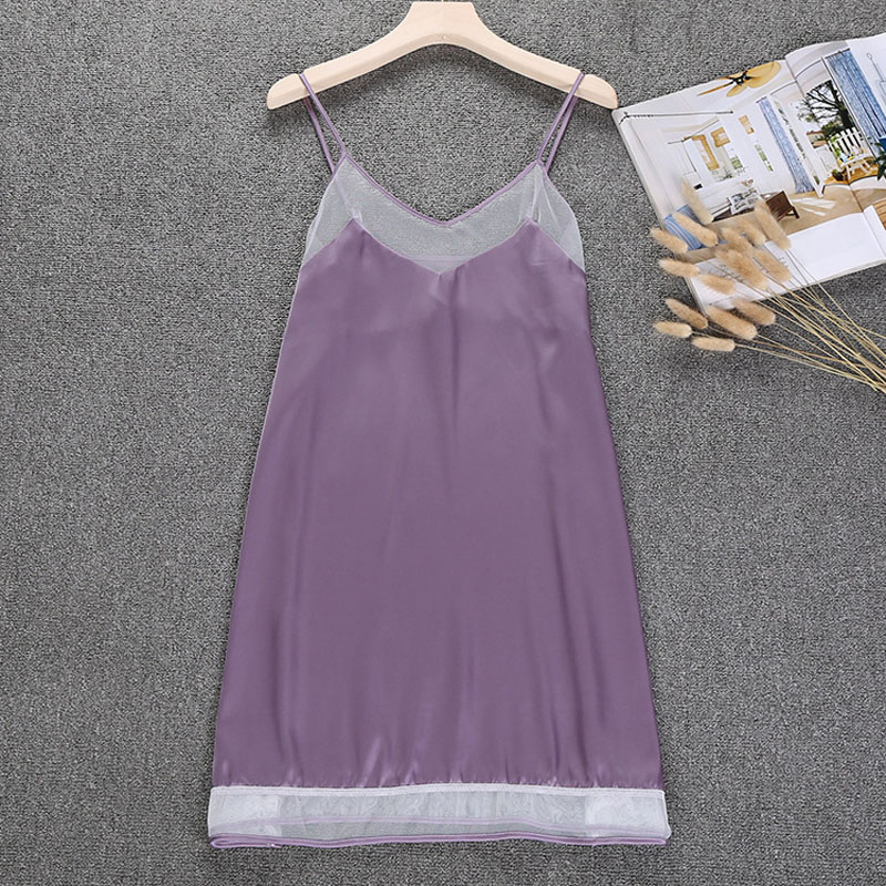 Women Sexy Lace Nightgown Silk Nightdress Stretch Mini Dress Sleepwear Sexy Lingerie Size M L XL Nightwear