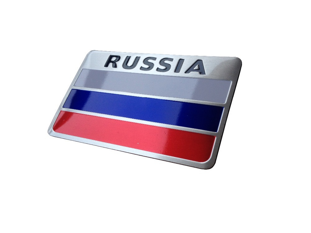 Automobiles russia 3d metal car stickers russia flag sticker on car covers label nameplate badge accessories car styling in car stickers from automobiles