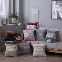 European Elegant Vintage Pillow Case 45*45Cm Floral Embroidered Cover Home Decor Universal Stretch Cashmere Cushion