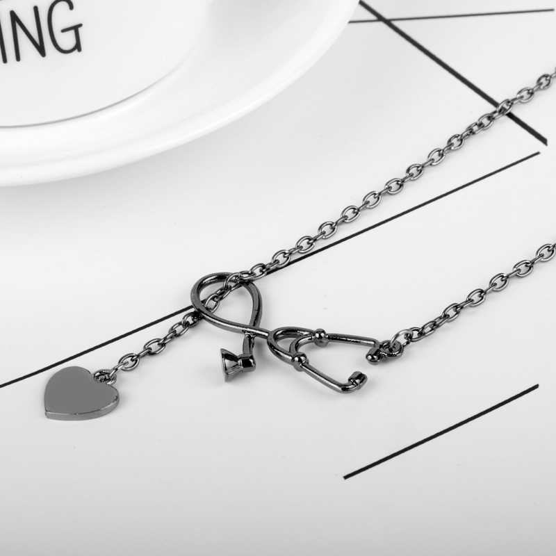 Stethoscope Lariat Necklace The Doctor Nurse Jewelry Accessories Heart  Stethoscope Pendant for Doctor Medical Student Best Gift