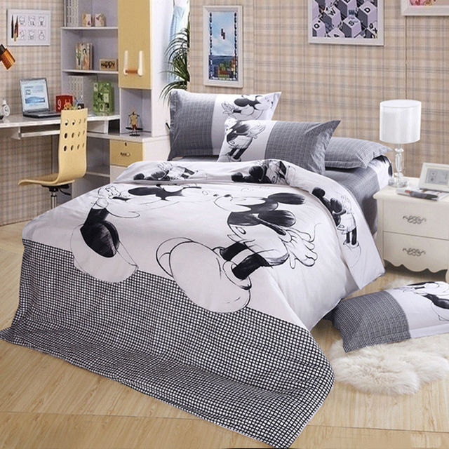 disney mickey minnie mouse bedding set black and white cartoon bedding duvet cover sets queen king - Minnie Mouse Bed Set