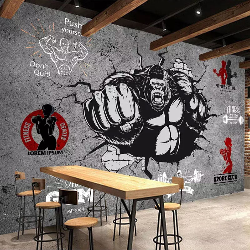 Personality Creative Fitness Bodybuilder Gorilla  3D Wall Paper Roll Gym Bedroom Background 3D Mural Wallpaper Home Decoration