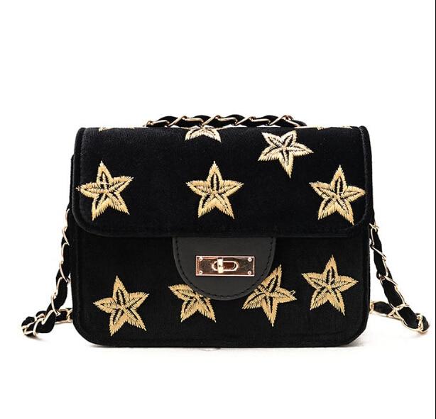 Small female messenger bag cute fashion velvet lockbutton shoulder bag embroidery chain bag frrt69