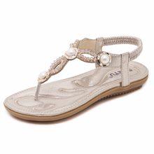 SIKETU Summer Beach Sandals Pearl Crystal Rhinestone Sandals Flat Shoes  Woman Women Casual Ladies Shoes Plus a85cc0e9bf88