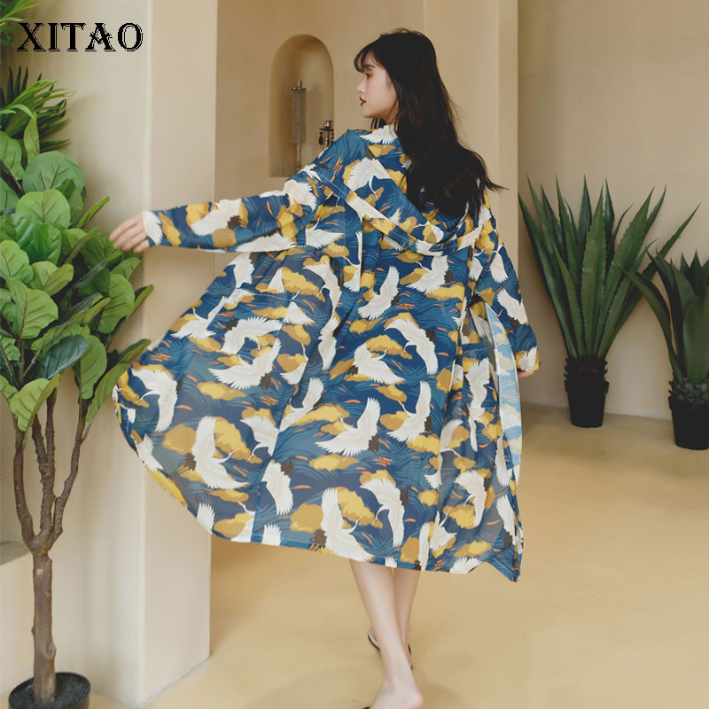 XITAO Thin Plus Size Chiffon Trench Women Korea Fashion New Print Pattern Hooded Cardigans 2019 Elegant Wild Joker  ZLL4232