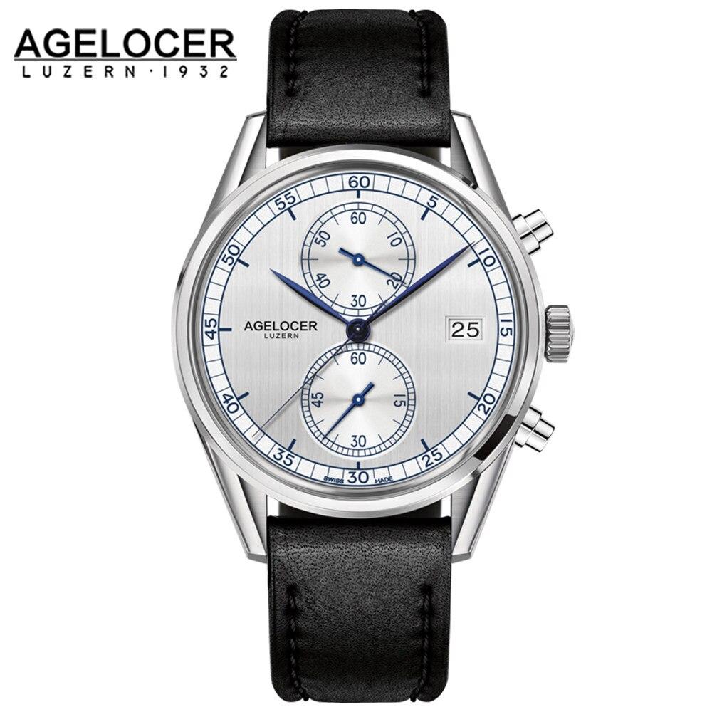 Switzerland Men Luxury Chronograph Watch Roles Reloj AGELOCER Timepiece Sapphire Quartz Wrist Watches for Mens relogio masculino seiko watch premier series sapphire chronograph quartz men s watch snde23p1