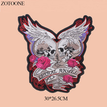 ZOTOONE Big Rose Skull Patches For Clothes DIY Jacket Jeans Iron On Letters Applique Embroidery Punk Rock Patch Flower Stickers