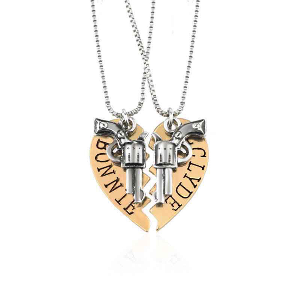 2018 New Fashion Style Bonnie Clyde Revolver Mosaic Of Love Couple Necklace Fashion Jewerly