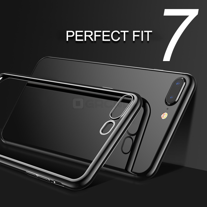 Clear Silicon Plating Soft Case For iPhone X 6S 6s Plus Slim Shining Phone Cover For iPhone 7 8 Plus Protective Case Coque Capa