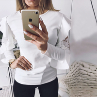 DeRuiLaDy Ruffle Lace Blouse Shirt Women Long Sleeve Floral White Blouses Female Tops Elegant Fashion Blouse Shirts blusas femme 2