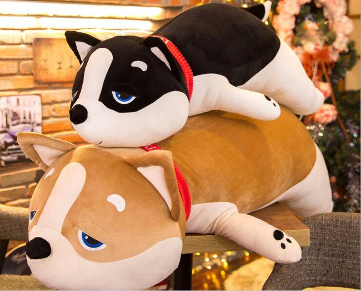 Grand 100 cm beau chien en peluche jouet Shiba Inu en coton doux poupée oreiller de couchage cadeau de noël b2899