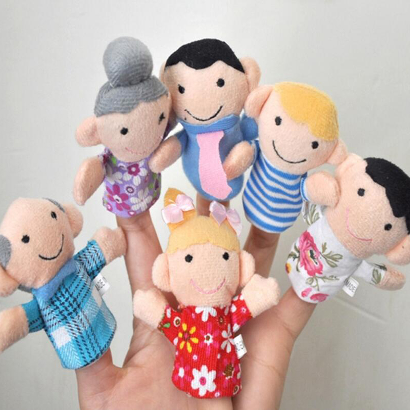 6Pcs/lot Family Finger Puppets Cloth Doll Baby Children Educational Hand Toy Boys Girls Story Funny Kids Doll Toys DSP01