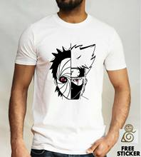 Naruto Kakashi vs camiseta Uchiha Obito Sharingan Anime Cosplay Presente Tee Top Mens(China)