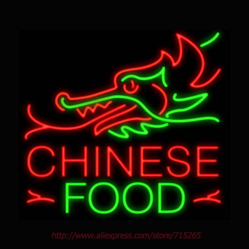 Chinesisches Essen Drachen Top Neon Zeichen Signage Bord Neonröhren Echt GlassTube Handcrafted...