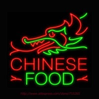 Chinese Food Dragon Top Neon Sign Signage Board Neon Bulbs Real GlassTube Handcrafted Decorate Window Display