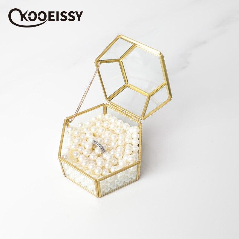 Glass-Box Gold-Jewelry-Box Wedding-Decoration Transparent Hexagon Geometric Unique European