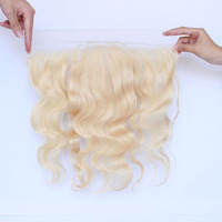 613 Blonde 13x4 Lace Frontal Closure Pre Plucked With Baby Hair Brazilian 100% Human Hair Free Part Ever Beauty Remy