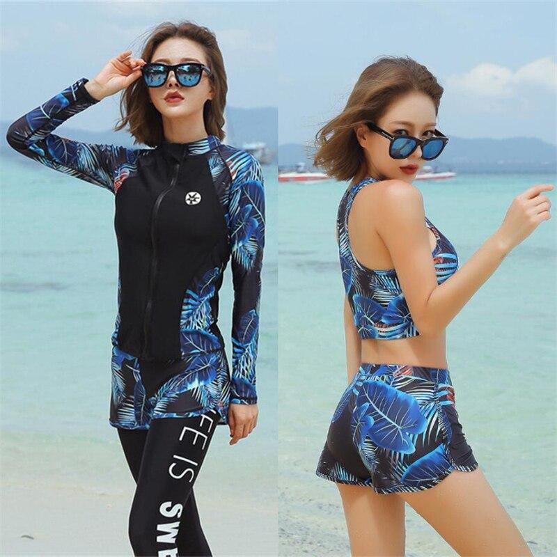 Модный летний Рашгард для девушек, шорты для серфинга, рубашки для плавания для женщин, защита от солнца, 5 шт., Рашгард, набор пляжного бикини