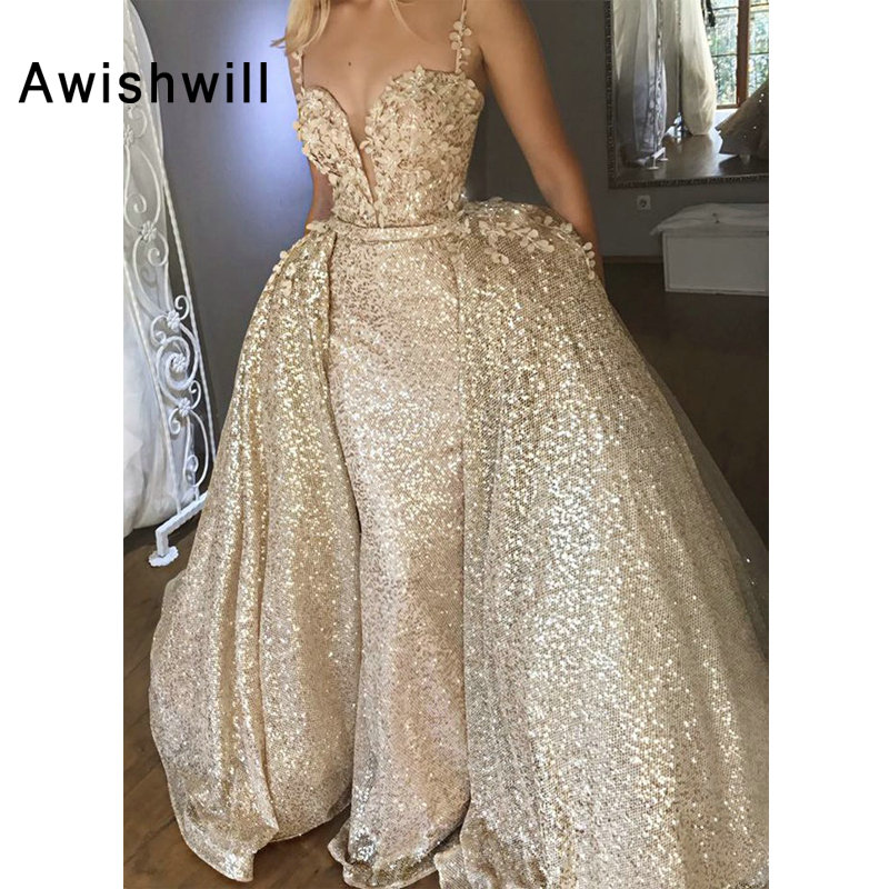 New Arrival Sequin Prom Dress With Detachable Train Appliques Sleeveless Gala Formal Gowns Women Evening Dress