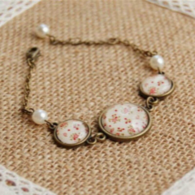 Flyleaf 2016 Vintage Imitation pearls hand-painted flowers bronze charm bracelet for women handmade fine jewelry pulseras mujer