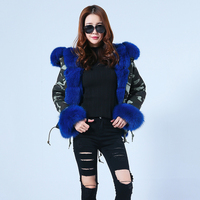 2019 Winter Thick Fur Parka Real Fox Fur Women Short Parker High Quality Hooded Coat Fashion Fur Jacket S7210