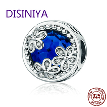 DISINIYA  Hot Sale  925 Sterling Silver Blue Radiant Daisies Charm Beads Fit Original   WOST Bracelet Fashion DIY Jewelry BLC112 цены