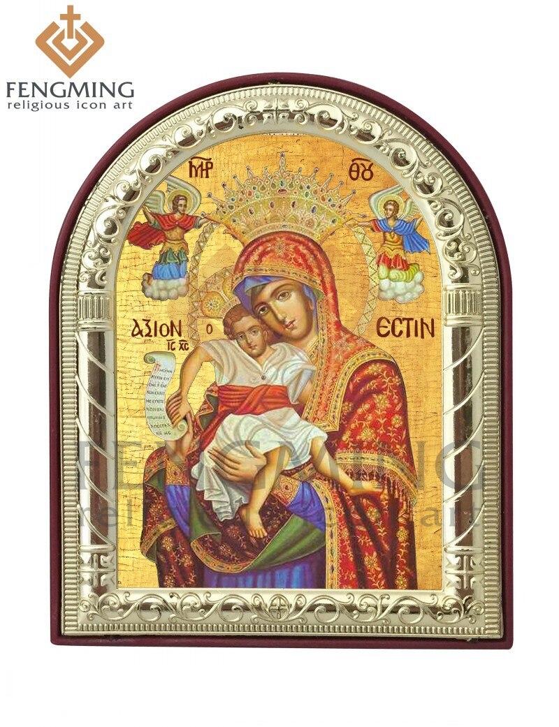 Může na zakázku kovové stříbrné zlato rám katolických byzantských theotokos Ježíš řemesla náboženské na plastové domácí dekorace přívěsek