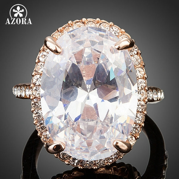 AZORA Rose Gold Color Big Oval-cut 5ct Egg Shaped Clear Cubic Zirconia Finger Ri
