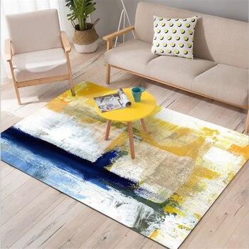 Alfombra Amarilla | Arte Abstracto Europeo Pintura Al óleo Azul Alfombra Amarilla Sofá Mesa De Centro Alfombra Para Sala De Estar Antideslizante Y Anti-arrugas