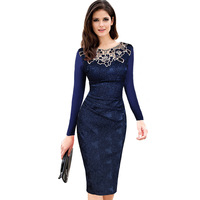 Vfemage Embroidery Elegant Retro Dobby Fabric Hollow Embroidered Pencil Bodycon Long Sleeve Dress AL722