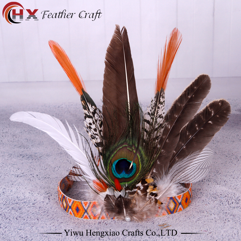 Halloween Hair Accessories Indian Feathers Headbands for Women Fashion Boho Girls Festival Beads Gypsy FeatherHeaddress