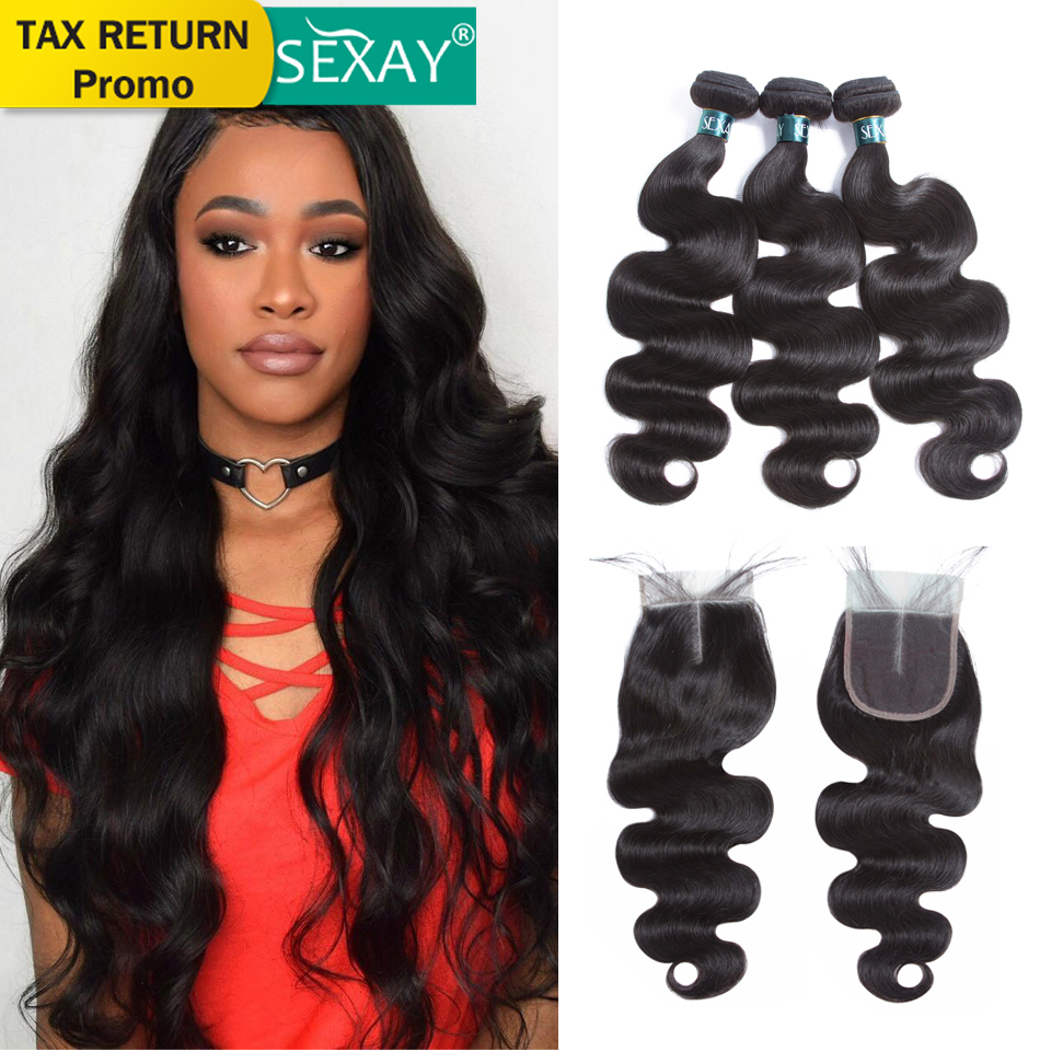 Body Wave Bundles With Closure Pre Colored Brazilian Human Hair Weave Bundles With Lace Closures SEXAY 3 Bundles With Closure