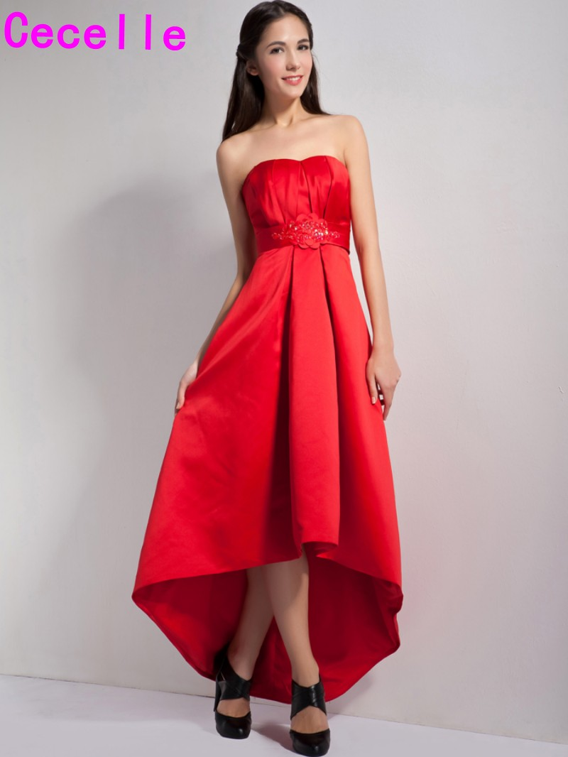 Red Long High Low Satin Bridesmaid Dresses Sweetheat
