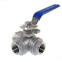 DN25 G1 Female 3 Way L Port 304 Stainless Steel Ball Valve Water Oil
