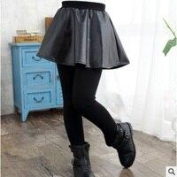Girls Leather Skirt Leggings 2018 New Autumn and Winter Children's Thicken Plus Velvet Warm Leggings Long Pants Size3 14 ly119