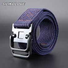 3.8cm Multicolor No Buckles for Unisex Jeans Belts Casual Solid Color Braided Canvas Belt Double Ring Ceinture